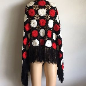 Vintage Sweaters - VTG 70s Hippie Yarn Floral Cape Sweater Fringe M L